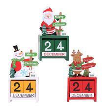 Merry Christmas Living Room Desktop Decoration Ornament Wooden Calendar Santa/Snowman/Elk Party Festival Decor