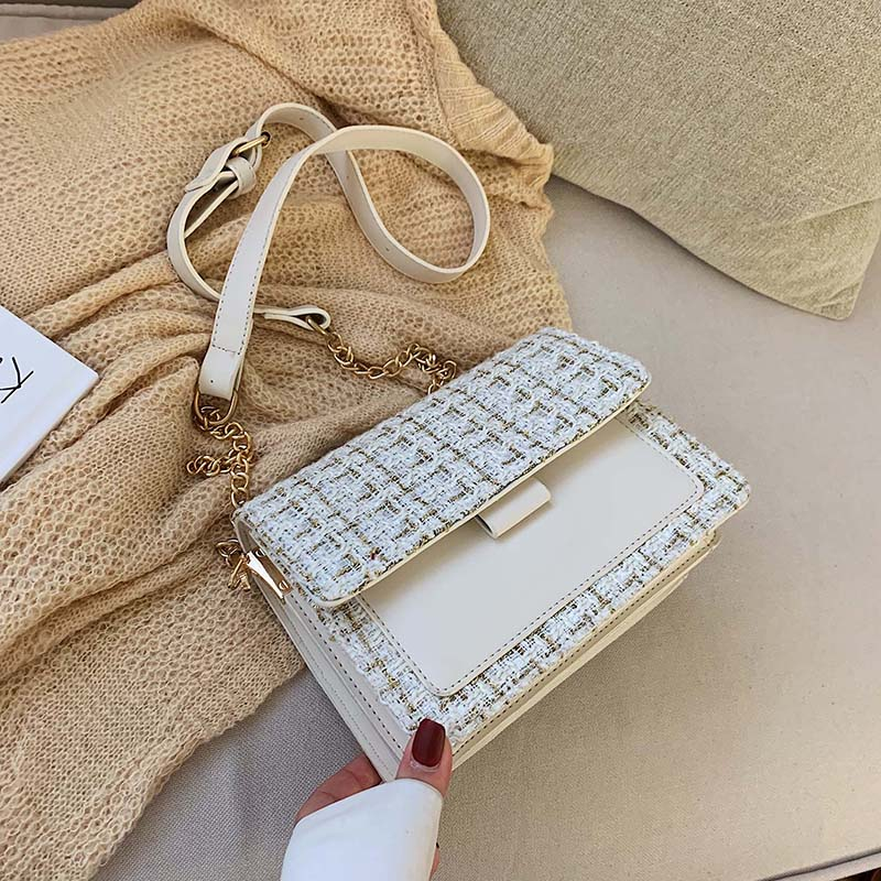 Cotton and Linen Crossbody Bags For Women 2020 Winter Shoulder Messenger Bag Female Mini Chain Handbags and Purses