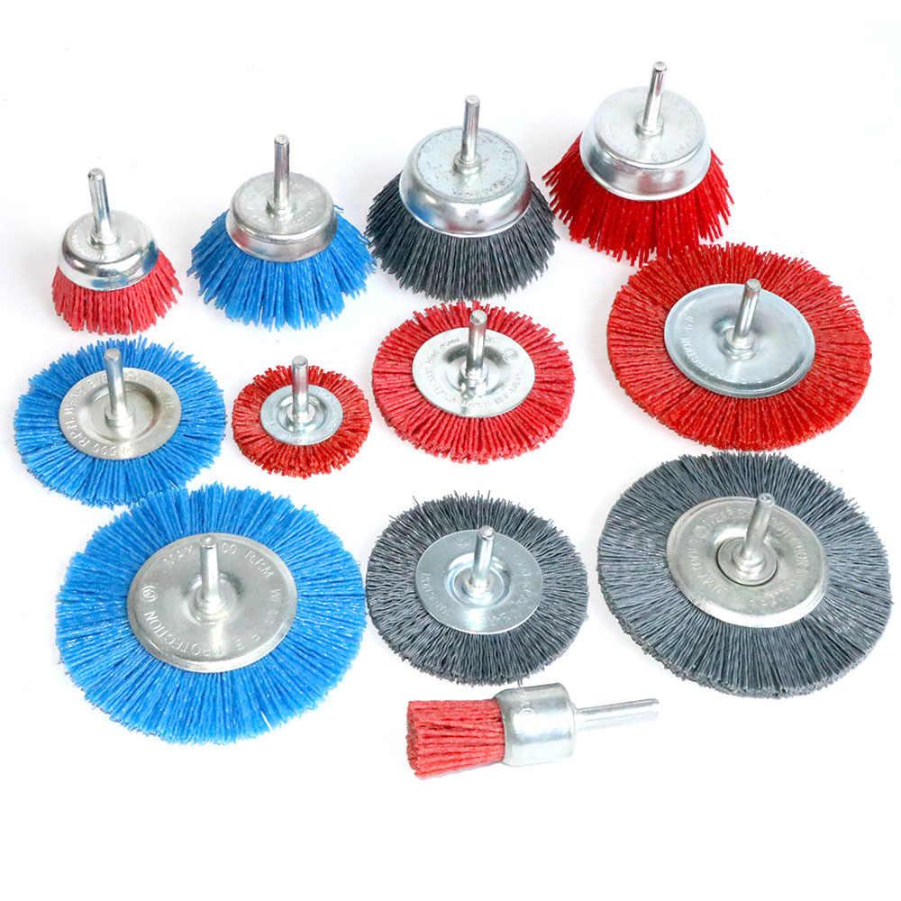 Deburring Abrasive Steel Wire Brush Head Polishing Red Nylon Wheel Cup Shank