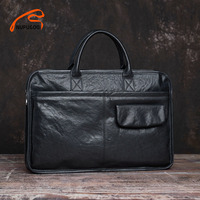 NUPUGOO Casual männer Aktentasche Aus Echtem Leder Trend Mode Handtasche Mann Große Kapazität Crossbody Tasche Für 15,6 Zoll Laptop Taschen