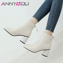 ANNYMOLI Fall Ankle Boots Women Patent Leather Thick High Heel Short Boots Crystal Zipper Shoes Lady Red Winter Plus Size 33-43 цена