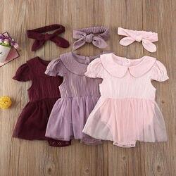 Летняя одежда для новорожденных девочек 0-24 м, хлопковый комбинезон с оборками, платье, однотонное розовое милое платье-пачка, сарафан