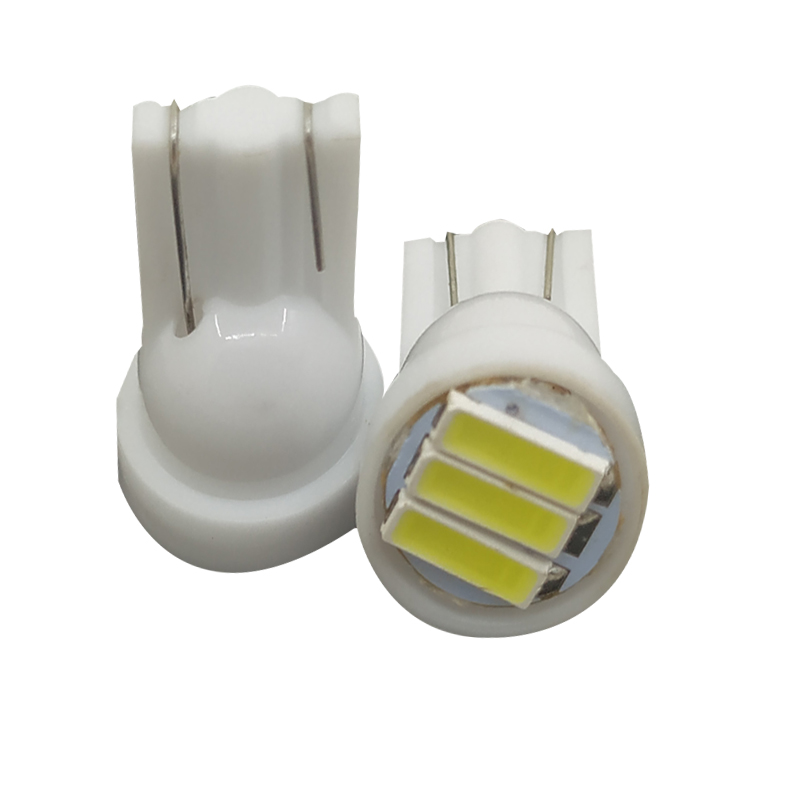 20pcs T10 3 SMD 7014 LED 3SMD 7020 1W White W5W LED Wedge License Plate Light Lamp Car Light Source 12V DC
