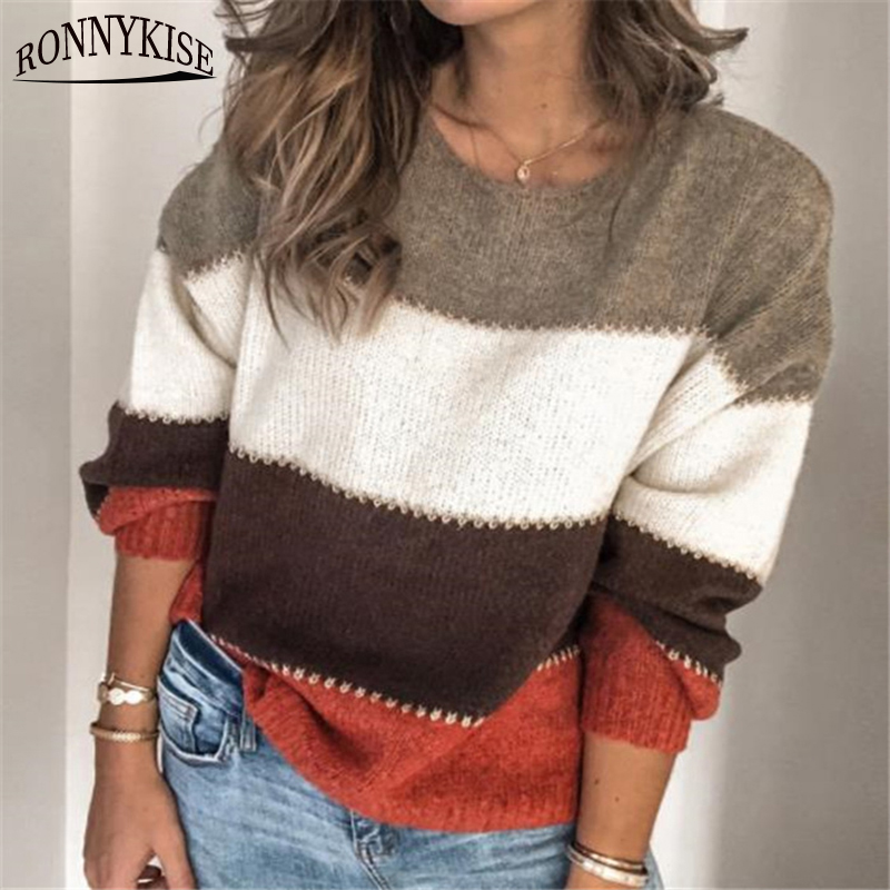 RONNYKISE Patchwork Color Knitwear Pullovers Tops Winter Fashion Long Sleeve O-neck Casual Loose Sweaters For Women