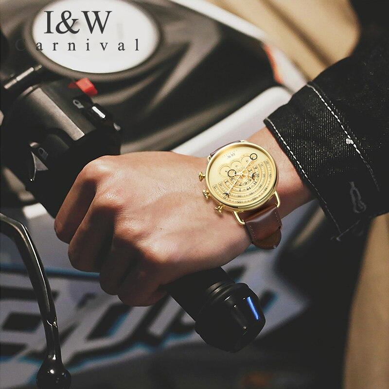 2019 CARNEVALE I & W Uomini Della Vigilanza Del Quarzo Della Cinghia di Cuoio Mens Orologi Top Brand di Lusso In Oro Orologio Maschile Orologi Da Polso relogio masculino - 4