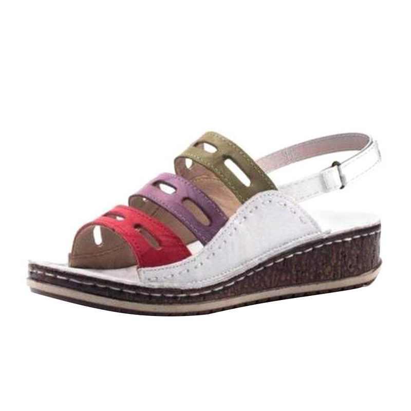 Puimentiua Da PU Giày Đế Xuồng Nữ Cao Gót Giày Mùa Hè Giày Xỏ Femme Nền Tảng Giày Sandal 2019 Plus Kích Thước