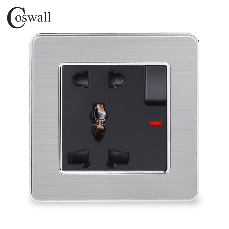 COSWALL Stainless Steel Panel 1 Gang 13A Universal 5 Hole Switched Socket With Neon Grounded With Children Protective Door