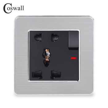 COSWALL Stainless Steel Panel 1 Gang 13A Universal 5 Hole Switched Socket With Neon Grounded Children Protective Door - discount item  42% OFF Electrical Equipment & Supplies