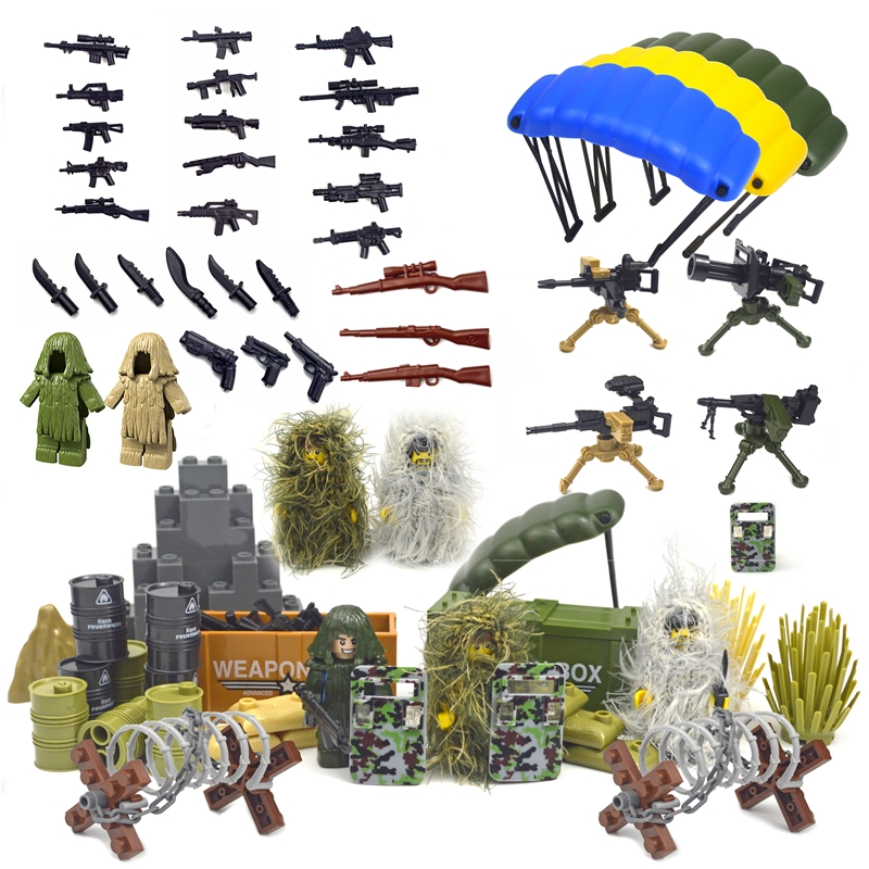 Military Accessories Bricks Swat Weapon Soldier Guns Fence Ghillie Suits WW2 Army MOC Parts Building Block Military Scene Series