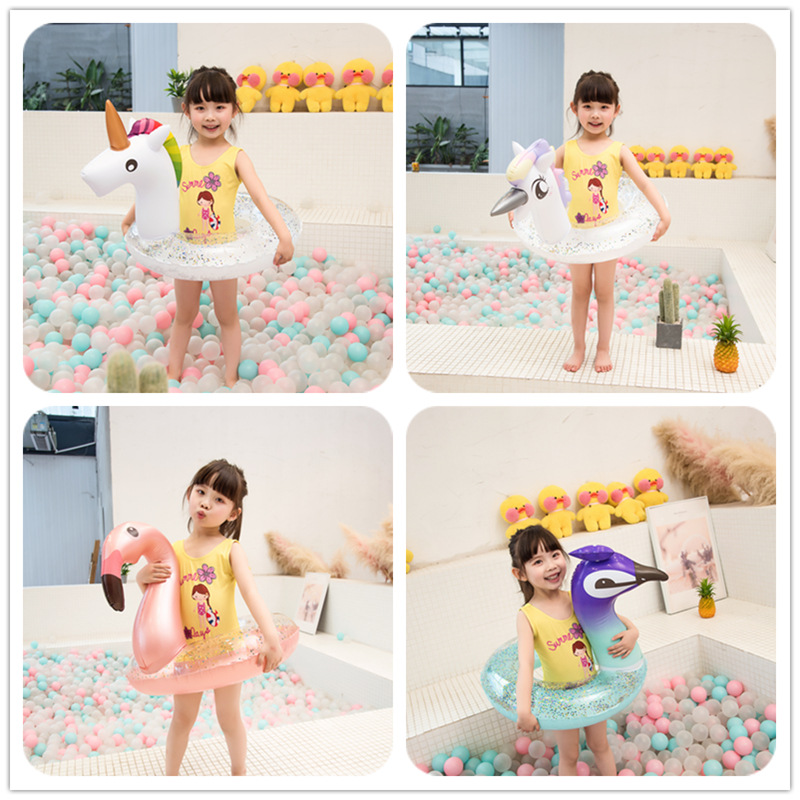 Baby Inflatable Flamingo Pool Float Confetti Glitter Swimming Ring Children Unicorn Swimming Circle Seat Raft Summer Water Toys