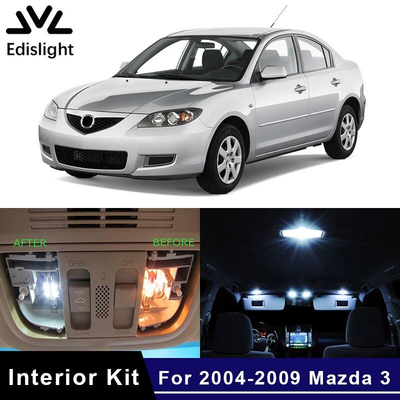 Edislight 8Pcs White Ice Blue Canbus LED Lamp Car Bulbs Interior Package Kit For 2004-2009 Mazda 3 Map Dome Trunk Plate Light