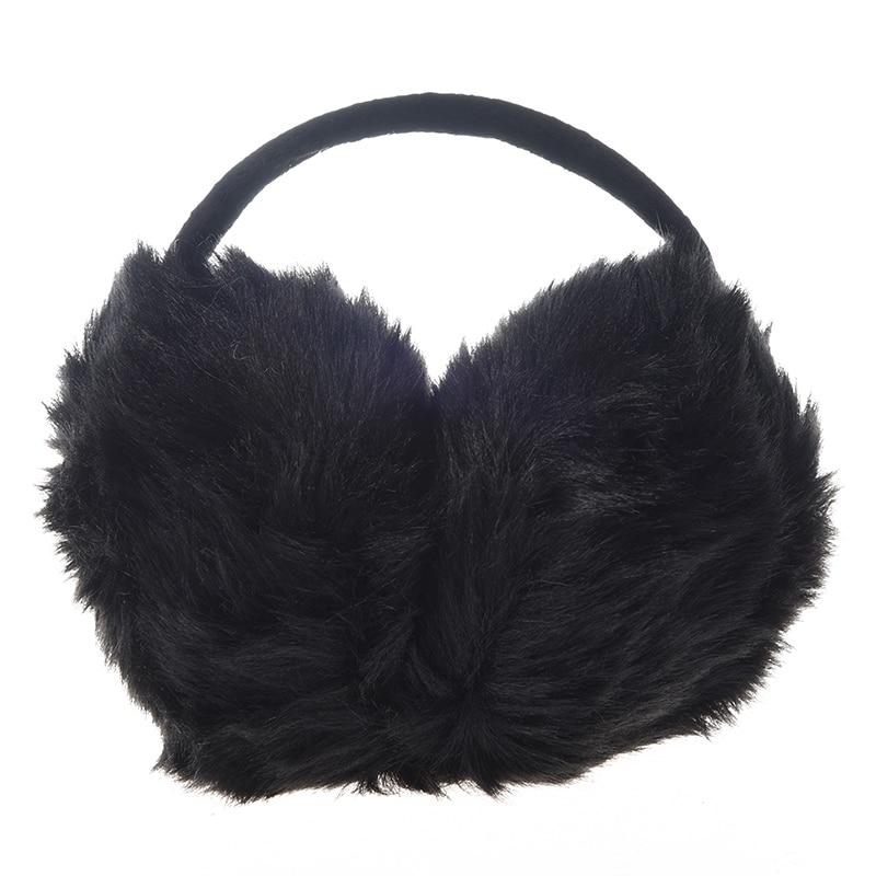New Lady Pure Plush Comfy Warmer Headband Back Ear Muffs Earmuffs Black