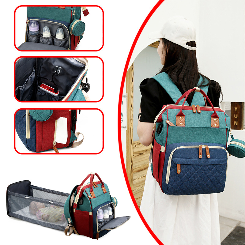 Multifunctional Portable Diaper Bag Baby Travel Large Capacity Maternity Backpack Baby Bed with Changing Bed Outdoors Nappy Bag