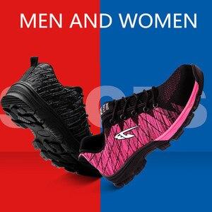 Image 5 - Hommes et femmes bottes de sécurité en plein air respirant hommes chaussures en acier orteil anti crevaison travailleurs baskets