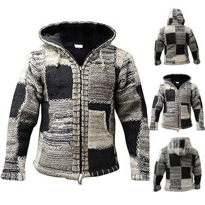 Men's Sweater Coat 2020 Spring Autumn Mens Hooded Stripe Coat Thick Zipper Wool Sweater Cardigan Jumpers Male