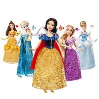 Genuine Disney store 30CM Rapunzel Belle Mulan Merida Anna Elsa Mermaid Multi Jasmine joint princess doll toys For Children gift