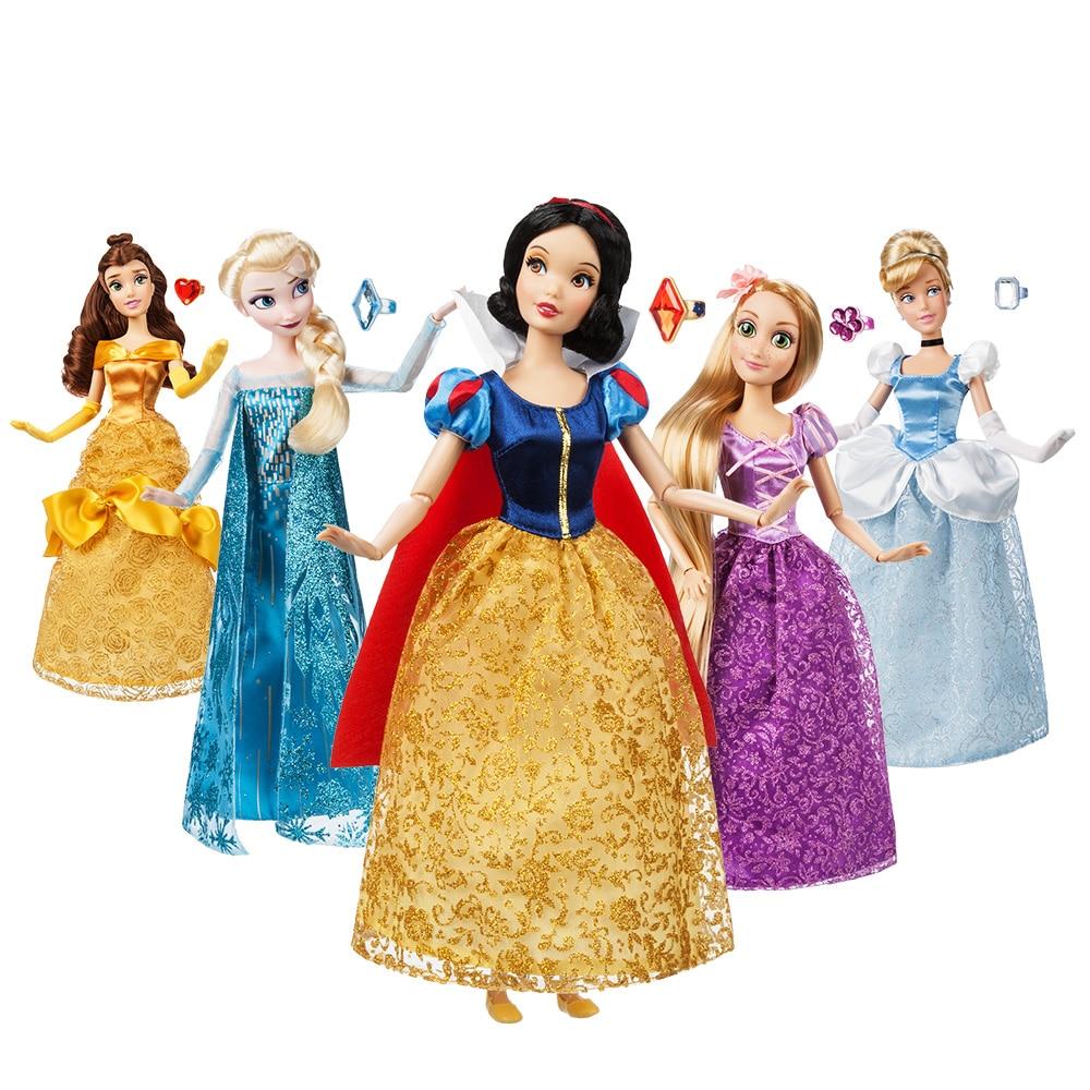 Véritable magasin Disney 30CM raiponce Belle Mulan Merida Anna Elsa sirène Multi jasmin joint princesse poupée jouets pour enfants cadeau