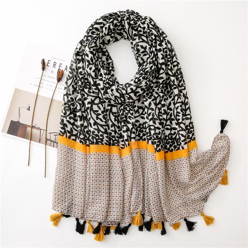2020 Women Fashion Floral Patchwork Tassel Viscose Shawl Scarf Lady High Quality Warm Pashmina Stole Muslim Hijab Sjaal 180*90Cm