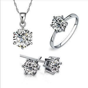 Women's Birthday Gift Wedding Jewelry Set Fashion 925 Sterling Silver Crystal Necklace Ring Earrings 3 Pieces Free Shipping n050