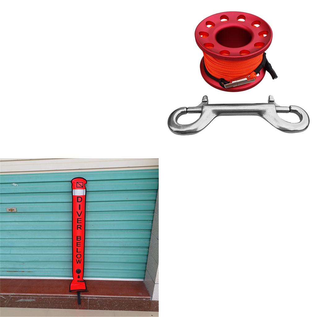 Tubo de señal de boya marcador de superficie SMB de buceo con carrete de buceo equipo de engranaje de seguridad-Varios Colores - 4