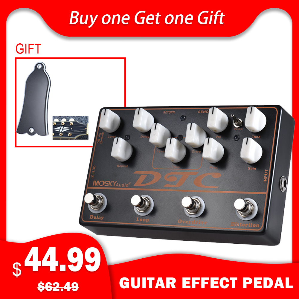 MOSKY guitare électrique pédale d'effets DTC 4-en-1 distorsion + Overdrive + boucle + retard guitare accessoires Instrument accessoires