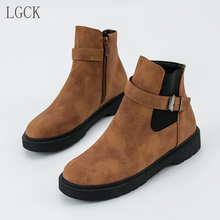 Plus Size 34-43 New Women Martin Boots Round Toe Classic Ankle Female Shoes Winter Warm Head Thick Snow