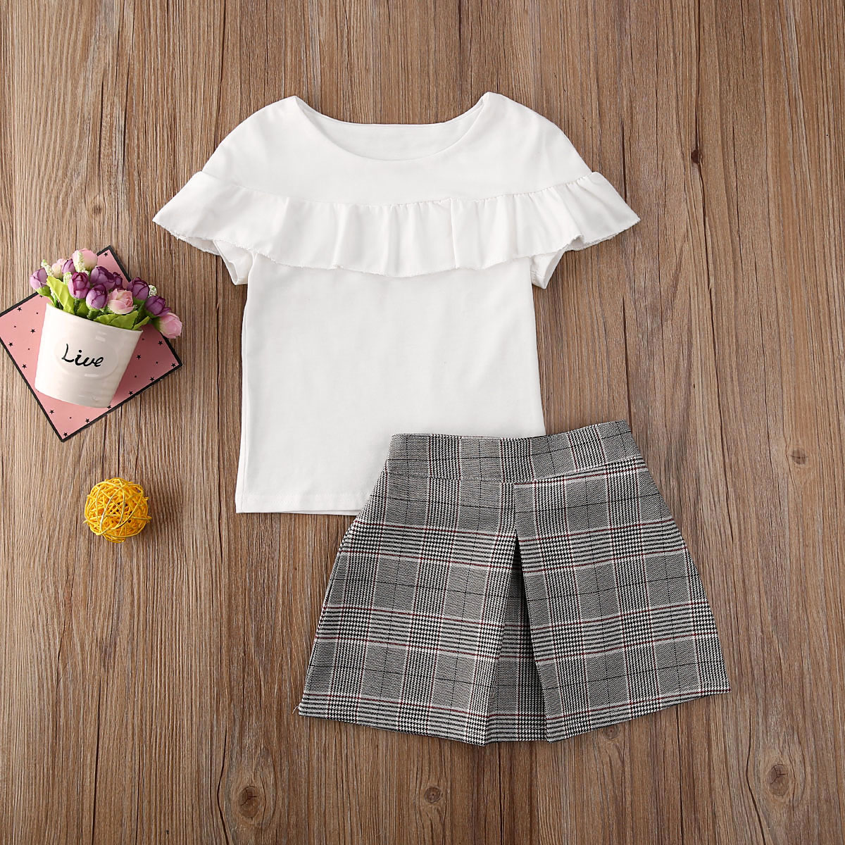 Pudcoco Newest Fashion Toddler Baby Girl Clothes Solid Color Ruffle Tops Plaids Mini Skirt 2Pcs Outfits Cotton Clothes