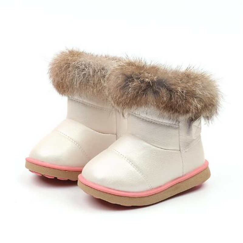 Girls Snow Boots Winter Warm Fashion Boots Children Rabbit Fur Soft Bottom Toddler's Cotton Shoes White 3