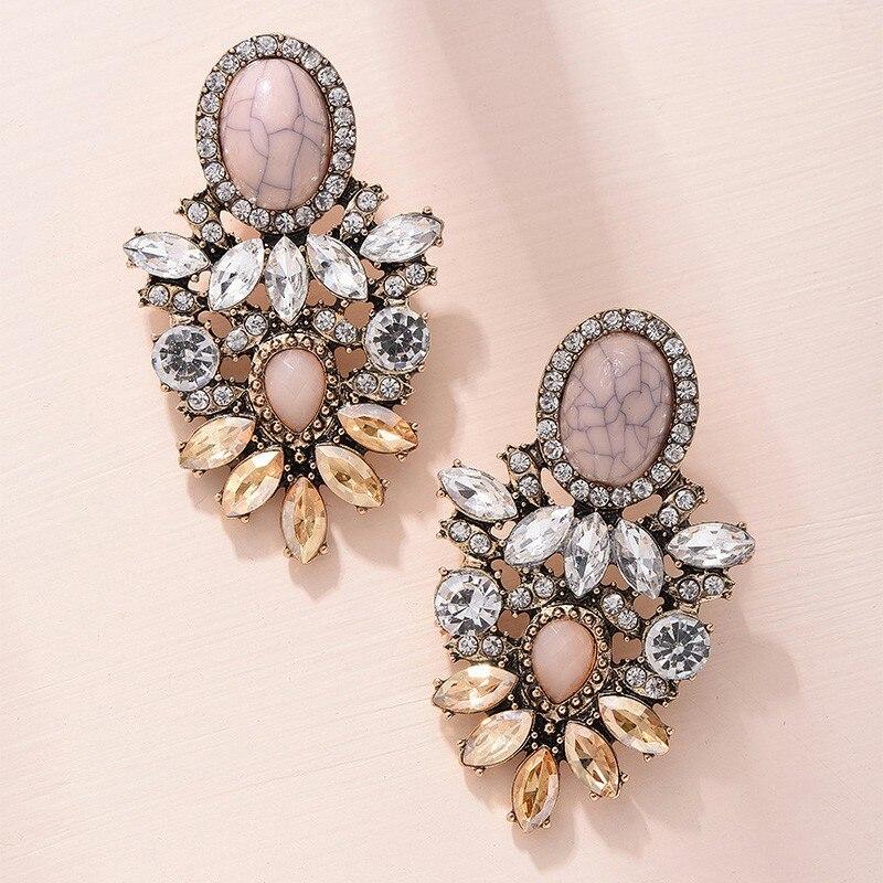 Mode rose pierre cristal fleur goutte boucles d'oreilles pour femmes or strass boucles d'oreilles bijoux modernes cadeau 1
