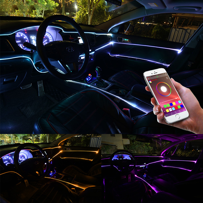 Niscarda 6M Bluetooth APP Control Active EL Neon Wire Strip Light RGB LED Decorative Dashboard Door Atmosphere Light