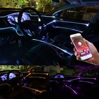 Niscarda 6M Bluetooth APP Control Active EL Neon Wire Strip Light RGB LED Decorative Dashboard Door Atmosphere Light