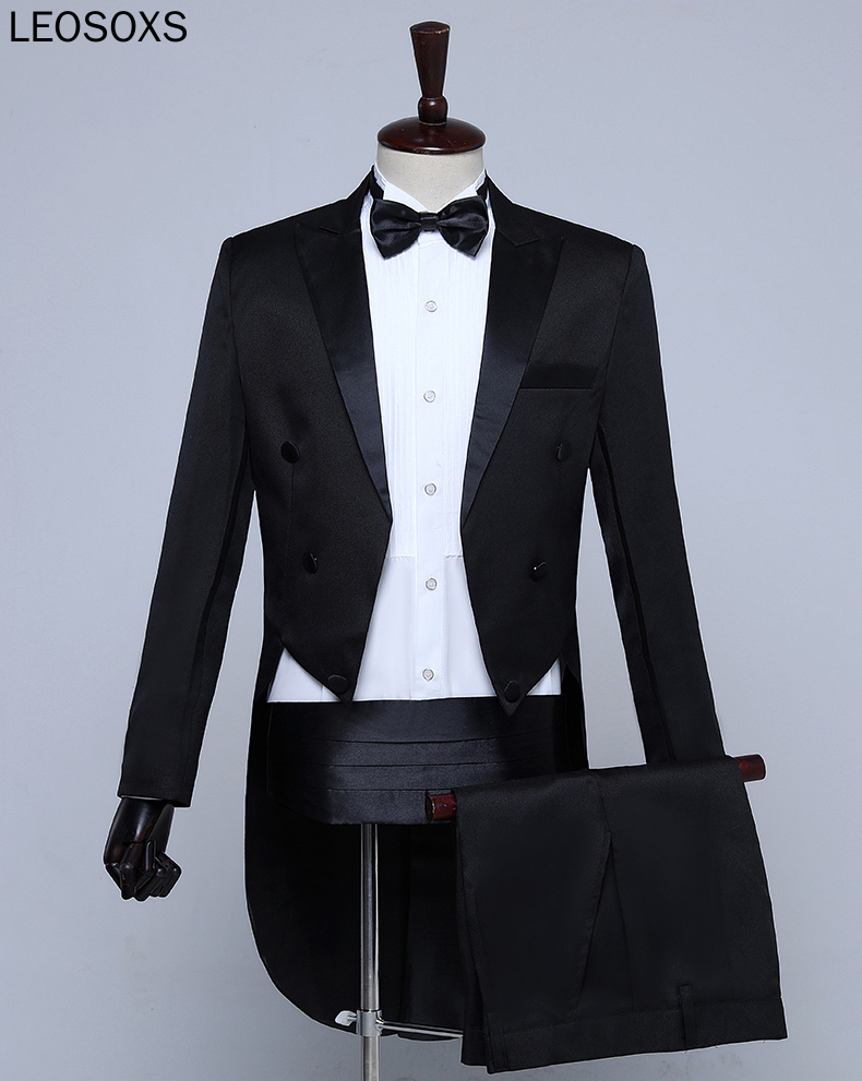 New Plus Size S-3XL Mens Classic Black White Shiny Lapel Tail Coat Tuxedo Wedding Groom Stage Singer Four Piece Suit