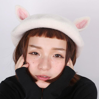 Fashion Cute Cat Ears Hats Handmade Wool Felt Berets Winter Knitted Women Hats Wild Painter Hat Birthday Gift Beret Ladies Caps