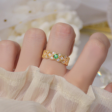 Luxury Delicate Emerald Diamond Open Design Ring Iced Out Exquisite Micro Inlay Zircon Pearl Ring Adjustable Jewelry Pendant