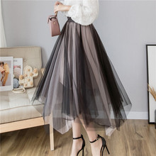 Autumn 2019 New Gauze Midi Skirts Irregular Net +lining High Waist Pleated Tulle Skirt Elstic Wasit Women Long