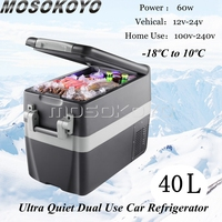 60W Low Power Consumption Potable Car Fridge Compressor Cooler Family Travel Outdoor BBQ Picnic Freezer Box Auto Refrigerator