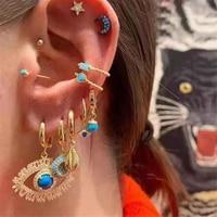 Boho Vintage géométrique boucles d'oreilles goutte pour les femmes 2020 yeux lune coquille étoile cristal Faux perles pendentif ensemble de boucles d'oreilles femme bijoux