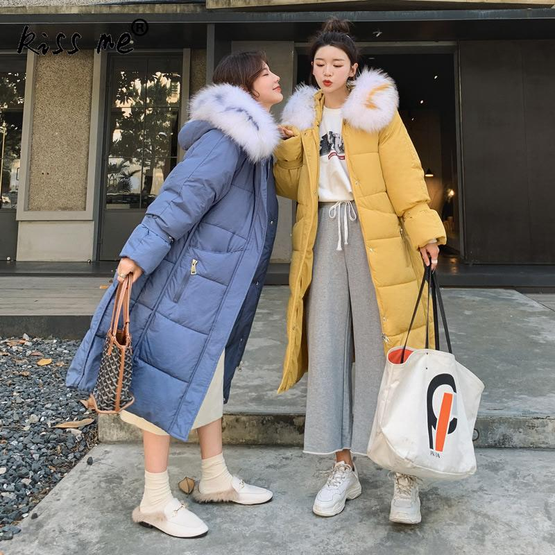 Trendy Long Style Hooded Parkas Solid Fashion Outdoor Down Jacket Women Blue Yellow Winter Autumn Down Coat Ladies Camping Suit