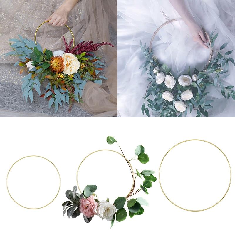 1pcs 10cm-40cm Gold Metal Ring Portable Garlands Wedding Bride Flowers Wreath Circle Girl Catching Dream Hoop Hanging Decoration