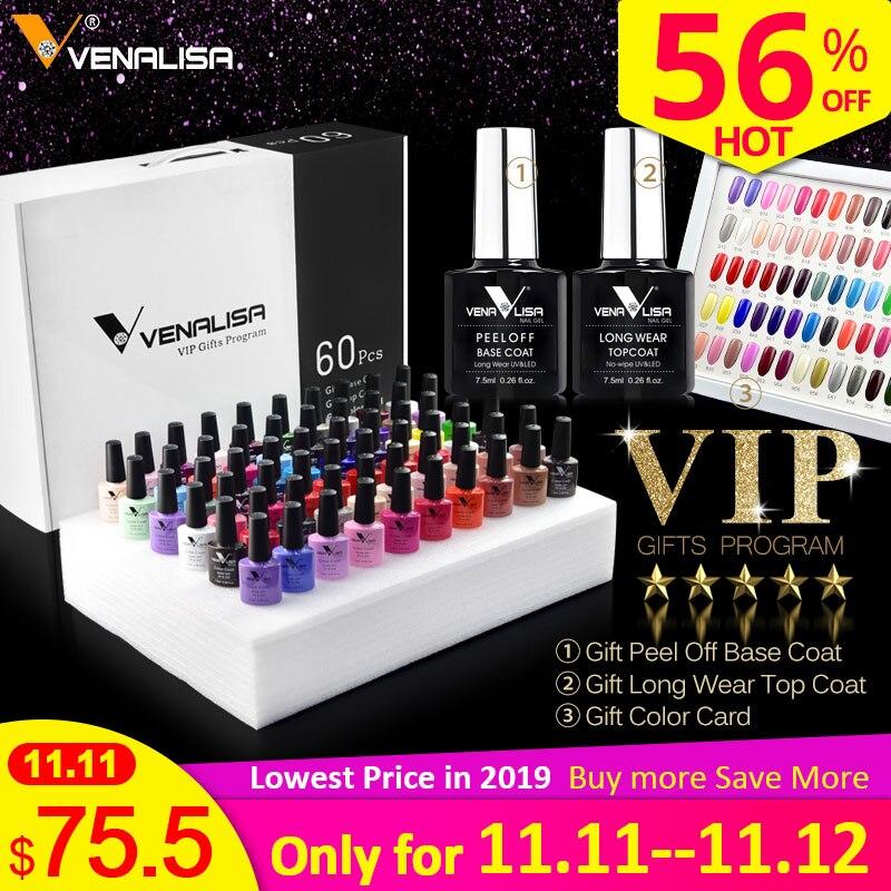 62pcs/lot Gel Varnish VENALISA Nail Gel Polish Soak Off UV LED Nail Gel Color Palette Gel Varnish Peel Off Base No wipe Top Coat-in Nail Gel from Beauty & Health