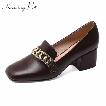 Krazing pot plus size full grain leather vintage loafers shoes metal decorations round toe high heels slip on women pumps L75