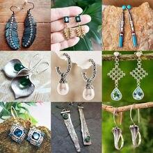 Vintage Indian Tribal Green Resin Dangle Earrings Bohemian Big Long Hollow Drop Earrings For Women 2019 Hippie Brincos Jewelry