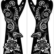 2 sheet Large Henna Hand Tattoo Stencils Women Girls Hand Finger Body Paint Henna Tattoo Templates Stencil DIY Indian Style