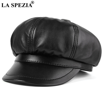 LA SPEZIA Genuine Leather Hats Women Newsboy Cap Solid Black Real Sheepskin Beret Autumn Winter for