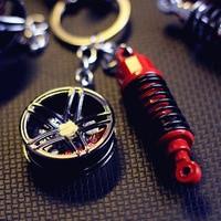 Car Trend Modified Wheel Hub Shock Absorbers Keychain Metal Key Chain Pendant Men And Women Cool Gift Accessories|Estojo de chaves p/ carro| |  -