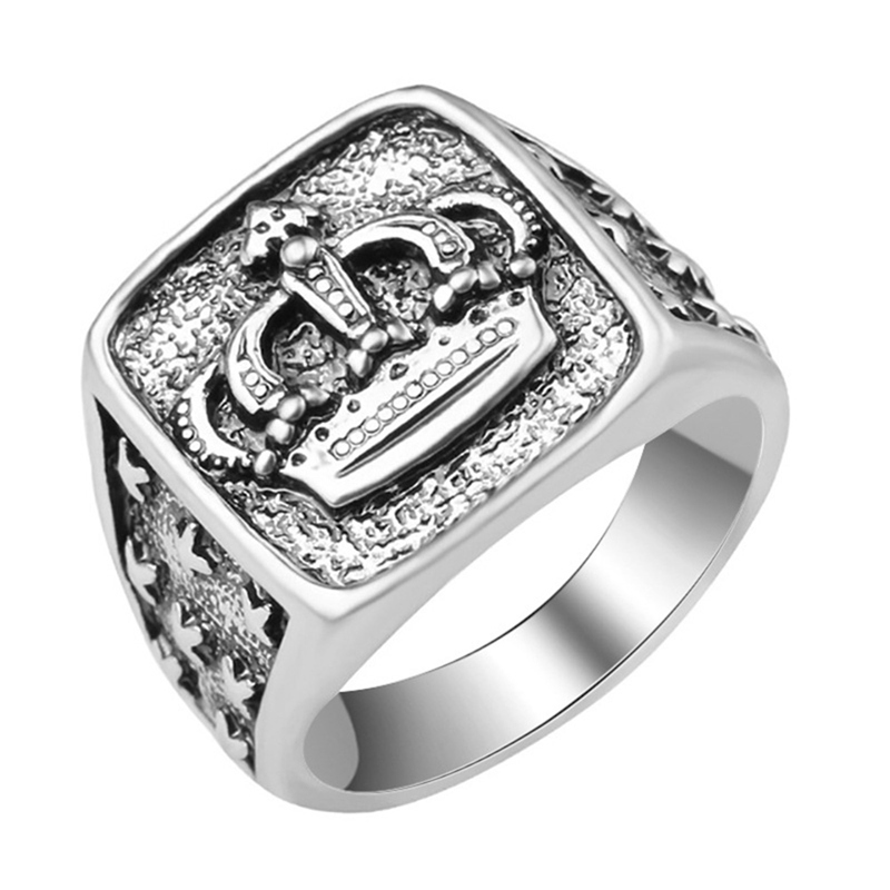 Punk Gothic Antique Silver Color Crown Signet Rings Vintage Men's Wedding Engagement Statement Crown  Rings Male Fashion Jewelry