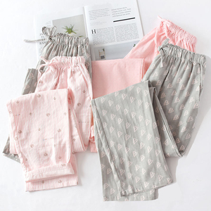 Cotton Pajamas Pants Couples Home Pants Women Sleepwear Cute Night Pants Loungewear Print Sleep Bottoms Loose Pants Night gown