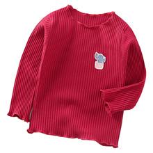 Koszulka z długim rękawem dla dziewczynek wiosna jesień koszule dziecięce bawełniane koszulki dziecięce kolor jednolity dla dziewczyn koszulka dziecięca dół odzież tanie tanio Unini-yun COTTON Moda W paski REGULAR O-neck Pełna Pasuje prawda na wymiar weź swój normalny rozmiar Unisex