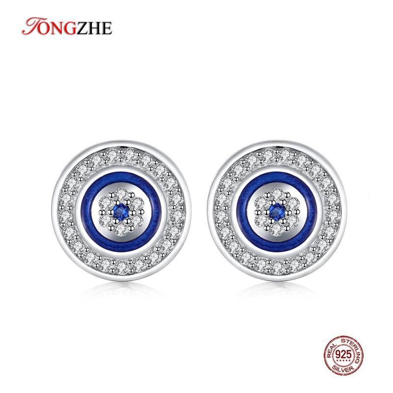 TONGZHE 925 Sterling Silver Stud Earrings For Women Blue Crystal Evil Eye Enamel Lucky Turkey Eye Men Earrings Fashion Jewelry