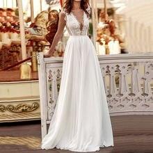 Элегантное женское сексуальное Белое платье с глубоким v образным